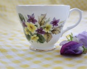 Duchess Bone China Teacup Vintage Purple and Yellow Floral Pattern 346 Shabby Chic SALE - 30% OFF
