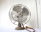 Vintage Art Deco Fan Koldair Knapp Monarch Silver Gray Small Industrial