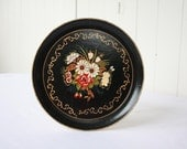 Vintage Floral Hand Painted Small Tray Plate Platter Black Red Multicolored