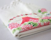 Vintage Hand Embroidered Pillowcase Pink Basket of Flowers With Crocheted Trim Mothers Day