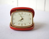 Vintage Travel Clock, Wind Up Clock, Desk Clock, Red Clock, Mid Century Clock