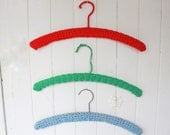 Vintage Crochet Hangers Handmade Set of 3 Primary Colors Red Blue Green Childrens Room Decor