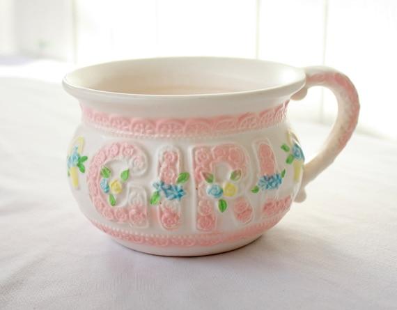 Vintage Napco Baby Girl Chamber Pot Planter Baby Gift Pastel Pink