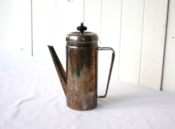 Mid Century Coffee Pot Silver Plate Modern Style