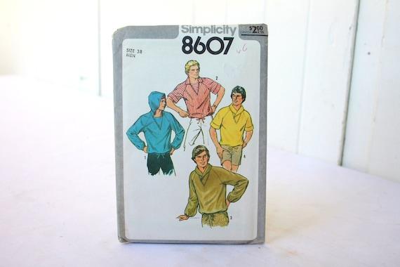 Vintage Mens Pattern 1970s Simplicity 8607 Mens Pullover Top UNCUT - 50% off SALE was 7.00