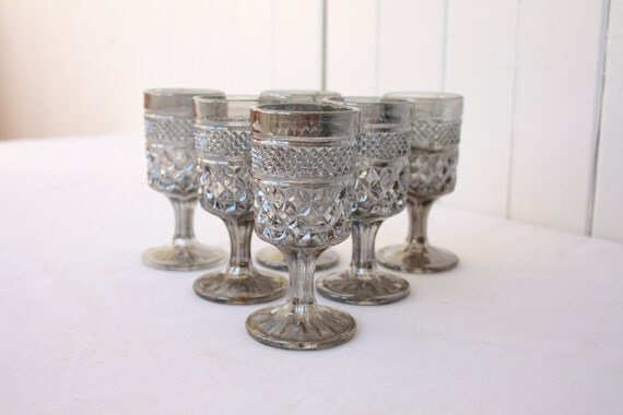 Vintage Cordial Glasses Hollywood Regency Wexford Pewter Mist Anchor Hocking Glassware Barware