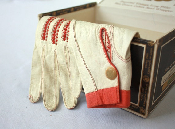 Vintage French Leather Fashion Gloves Nicolet Paris Cream and Coral Made in France