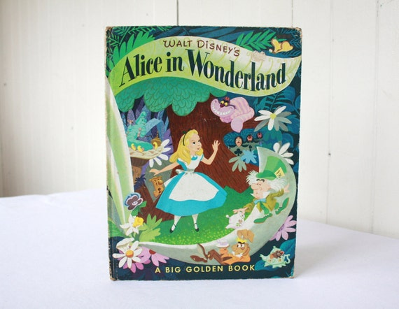 Vintage Disney's Alice in Wonderland Big Golden Book Mad Hatter Tea Party
