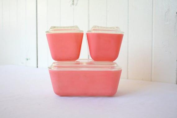 Vintage Pink Pyrex Refrigerator Set, Flamingo Pink, Pyrex Refrigerator Dish, Summertime, Summer Picnic, 6 Piece Set, 501 502