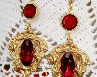 """Red GLASS Earrings, HANDMADE, Brass  - """"Red Carpet"""" - Sale! -Statement Jewelry, Bohemian Style in Vintage Faceted Ruby Glass, OOAK Heirloom"""