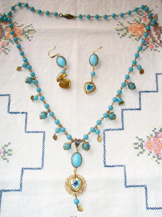 "CLEARANCE!!!!   Handmade GLASS Necklace & Earring SET, ""My Blue Valentine"" Bohemian Beauty, Vintage Components, Perfect Valentine's Day Gift"