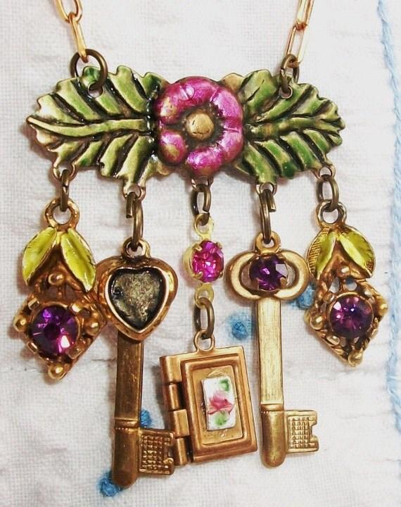 "HANDMADE Charm Necklace, SALE!!  - ""Book of Dreams"" - Vintage Components, Glass Rhinestones, Book Shaped Locket, Vintage Floral Hanger"