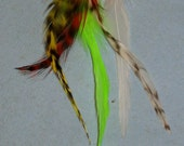 MARLEY: 5 Feather Hair Extensions - Short or Pet - Grizzly Rooster FREE SHIPPING