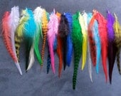 PICK your own colors: 5 Feather Hair Extensions - Short/Medium - Grizzly Rooster /  4 - 7 in / Free Micro Link