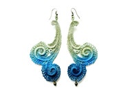 Lace Earrings Hand Painted Ombre Olive Green Blue and Navy