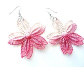 Hand Painted Lace Earrings - Pink and Champagne Ombre Flowers - Customizable Colors - Lace Fashion