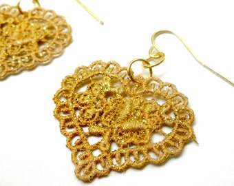 Gold Lace Earrings Hand Painted Heart with Glitter - Valentine's Day