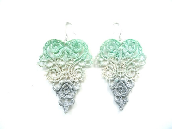 Lace Earrings Hand Dyed - Mint Green Grey Champagne Fading Romantic with Silver Glitter - Lace Fashion