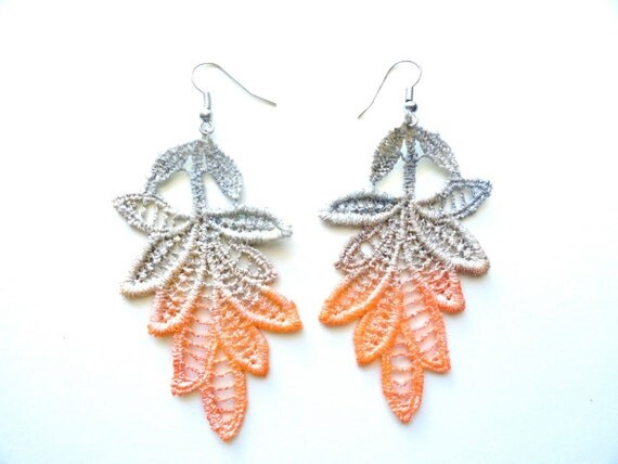 Lace Earrings Orange and Gray Ombre Leaves - Hand Painted Customizable Colors