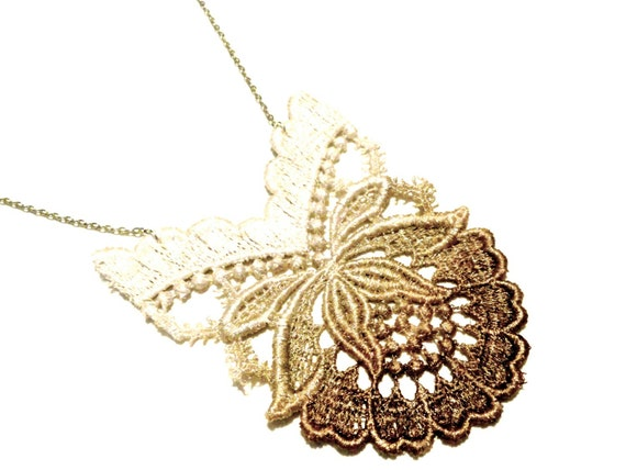 Lace Statement Necklace Ombre Flower in Brown Tan White Hand Painted - Customizable Colors