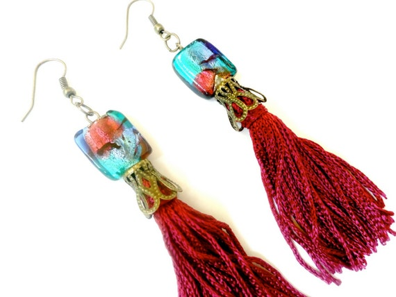 Red Tassel Earrings  - Beaded Earrings Maroon