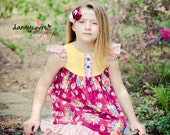 The Julia - Girls Flutter Sleeve Dress Wine Yellow Turquoise Floral Bouquet size 2 3 4