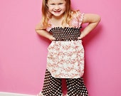 Spring Blooms - Shirred Top and Double Ruffle Capris Brown Pink Orange Spring Summer