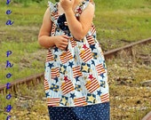 Old Glory Dress - Patriotic Sun Dress 4th of July Memorial Day Red White Blue