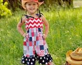 All American Girl Dress - Red White Blue Chevron Stripes Patriotic Patchwork Navy Polka Dot