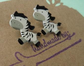 Zebra Earrings - Zebra Post Earrings - Animal Earrings - Circus - OhanaSisters