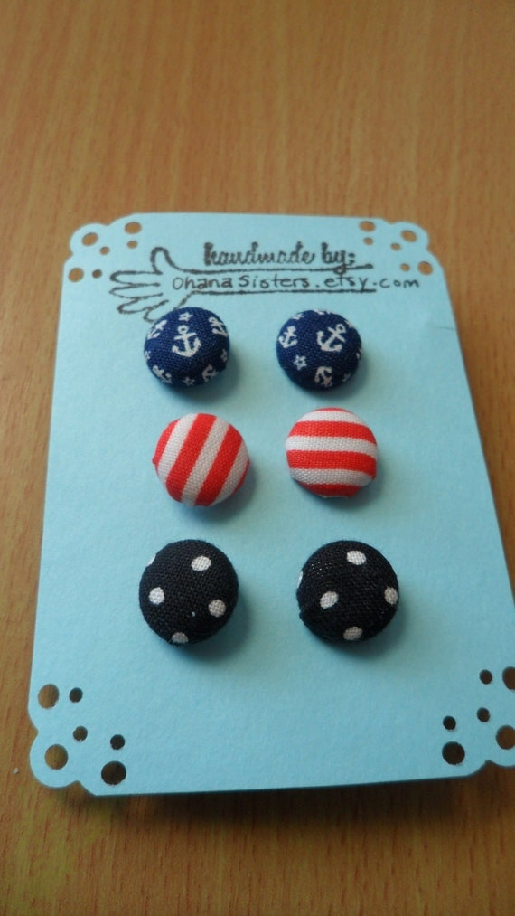 Holiday SALE 10% off - Anchor Earrings Studs - Polka Dots - Red and White Stripes - Nautical Earrings - Fabric stud earrings