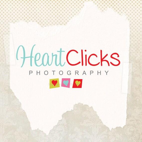 Hearts modern premade logo design and watermark photography logo