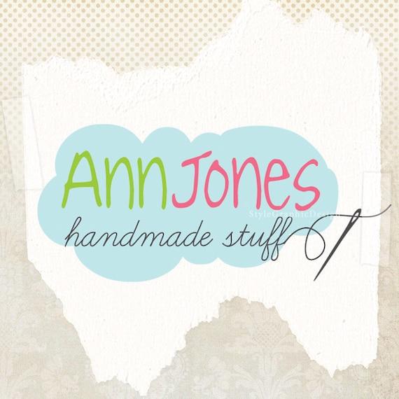Sewing business cloud logo design and watermark ooak logo premade
