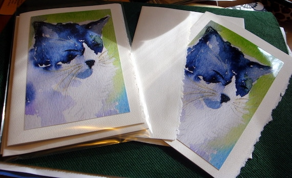 Water color greeting card set of 6 - Portrait view of black and white kitty cat