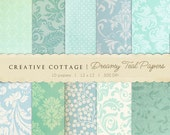 Dreamy Teal Vintage Digital Papers for Blogging and Scrapbooking