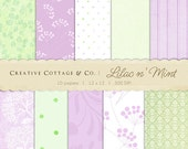 Lilac n' Mint Dandelion Flower Digital Papers for Blogging and Scrapbooking