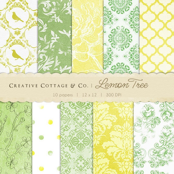 Lemon Tree Vintage Yellow and Green Digital Papers for Blogging and Scrapbooking