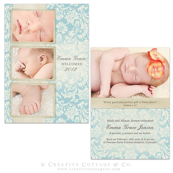 La Belle Fleur, 5x7 Flat Vintage Damask Card Template for Graduation, Birth and Any Occassion Announcements.