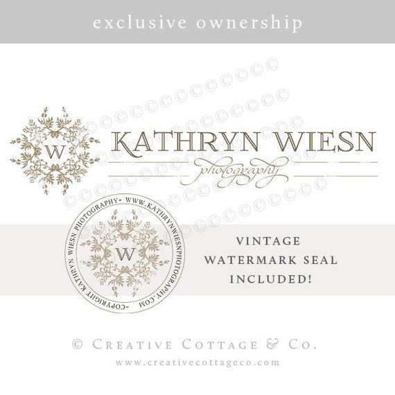 EXCLUSIVE OOAK Premade Photography Logo and Watermark, Merlot- Never Sold Again