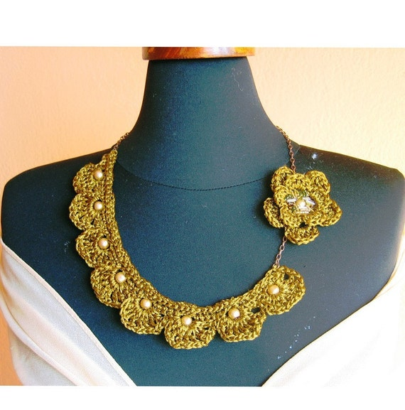 Gold silk crochet bib necklace - single ruffle layer with Brooch Flower and gold color pearls