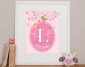 "Personalized Christening Gift Girls Alphabet Bespoke Giclee Art Picture. 10x8"" Print."