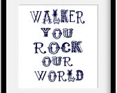 """You Rock My World. Personalized Name and Color Modern Nursery Art Print. 10x8"""""""