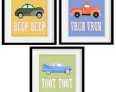 "SERIES 2 Set of 3 CAR PRINTS with words. Modern Nursery Wall Decor. 11x14"""