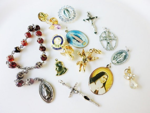 15 pcs assorted lot salvaged religious crosses pins charms medals and pendants lot  237