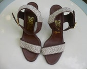 Reserved SALVATORE FERRAGAMO Leather and Lace Ankle Wrap Platform Sandals Shoes