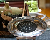 "Upcycled Vintage Detailed Oval Silver Chalkboard Tray 12"" x 6.5"""
