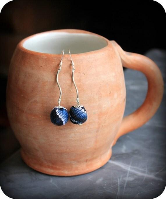 Peruvian Textile Dangle Bead Earrings