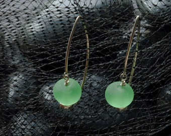 Green sea glass OOAK handmade lampworked glass and silver earrings
