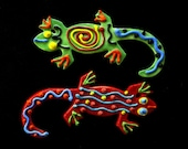 Red and Green Gecko ornaments