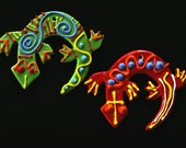 Green and Red Lizard Ornaments